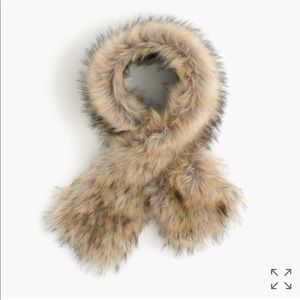 J. Crew Faux Fur Stole with Black Watch lining